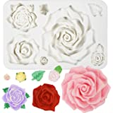 Large Roses and Flower Bud Fondant Candy Silicone Mold for Cake Decoration, Cupcake Topper, Chocolate, Epoxy Resin Jewelry Ca