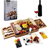 hecef Acacia Wood Cheese Board Set, Square Cheese Platter with 2 Slide-Out Drawers& Cutlery Set& Snack Plates& Marble Cheese