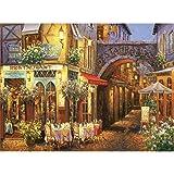 パズル 1000ピース ジグソーパズル 花咲く街 木製パズル 外国 風景 知育 puzzle (38 x 52 cm)