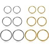 Jstyle 12Pcs 16G Stainless Steel Improved Hinged Clicker Segment Nose Rings Hoop Helix Cartilage Daith Tragus Sleeper Earring
