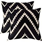 7COLORROOM Modern Geometry Style Throw Pillow Covers Black&Beige Stripes Cotton Linen Square Home Decorative Cushion Cover Pi