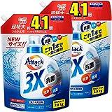 [Amazon限定ブランド]まとめ買い デカラクサイズ アタック3X 超特大 詰め替え 2800g ×2個 (抗菌・消臭・洗浄もこれ1本で解決!)