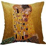 Moslion Gustav Klimts The Kiss Pillow,Home Decor Throw Pillow Cover Cotton Linen Cushion for Couch/Sofa/Bedroom/Livingroom/Ki
