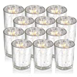 Sliver Votive Candle Holders, Mercury Glass Tealight Candle Holder Set of 12, Perfect Centerpieces for Wedding, Party, Home D