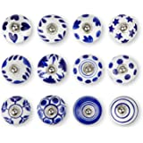 Set of 12 Handmade Knobs | 3 Color Design Ceramic Cabinet Knobs | Drawer Pulls Ideal for Any Home, Kitchen or Office | These