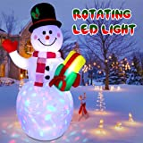 jcaeh 5ft Inflatable Snowman Christmas Outdoor Decoration,Blow up Snowman Inflatable with Rotating Built-in LED Lights for Ch