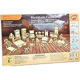 1SET=34PCS Dollhouse Furnitures -Wooden 3D Puzzle - Scale Miniature Models Doll House DIY Accessories …