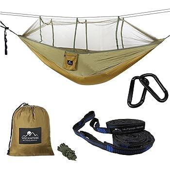 Wecamture ハンモック 蚊帳付き パラシュート 耐荷重 超広い 2人用 収納袋付き カラビナ付き 折畳み 公園 ハイキング 持ち運び簡単