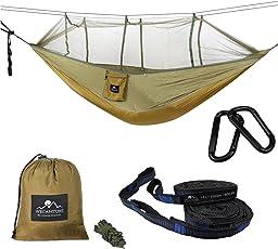 ハンモック 蚊帳付き 高品質 パラシュート 耐荷重 軽量幅広 超広い 2人用 丈夫 収納袋付き カラビナ付き 折畳み 室内 アウトドア キャンプ 公園 ハイキング 釣り ピクニック 持ち運び簡単