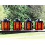 Vela Lanterns Moroccan Style Candle Lantern Set of 4, Mini, Amber Glass