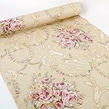SimpleLife4U Vintage Rose Contact Paper Peel & Stick Shelf Liner Drawer Locker Sticker Beige 45cm By 3m