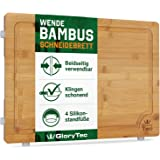 EXTRA LARGE Bamboo Cutting Board for Kitchen with Silicone Feet - Wide Groove on one side reversible with 2 Compartments for