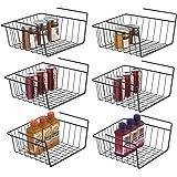 Under Shelf Basket, iSPECLE 6 Pack Black Wire Rack, Wire Basket Under Shelf for Storage, Easy to Install