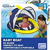 SwimSchool Deluxe Infant Baby Pool Float with Splash & Play Activity Center, Adjustable Sun Canopy, Perfect-Fit Safety Seat,