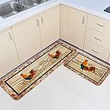 Farm Animal Rooster Anti Fatigue Kitchen Rug Set 2 Pieces Cushioned Kitchen Floor Mats Comfort Soft Standing Doormat,Non Slip
