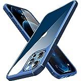 CASEKOO iPhone12Pro Max 用 ケース クリア 耐衝撃 米軍MIL規格 黄ばみ防止 カバー ストラップホール付き ワイヤレス充電対応 アイフォン 12 Pro Max 用 2021年 6.7 インチ ケース(ネイビーブルー)