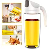 Auto Flip Olive Oil Dispenser Bottle,600 ml 20 OZ Leakproof Vinegar Glass Condiment Container With Automatic Cap and Stopper,