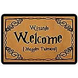 """Front Door Mat Entrance Floor Mat Wizards Welcome Muggles Tolerated Funny Doormat Decorative Indoor Outdoor Doormat, 23.6"""" x"""