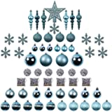 Sunnyglade 60ct Blue Christmas Tree Ball Ornaments Set Shatterproof Christmas Bling-Bling Hanging Decoration with Hand-held G