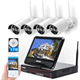 All in one with Monitor Wireless Security Camera System Home WiFi CCTV 4CH 1080P NVR Kit 4pcs 960P Indoor Outdoor Bullet IP C