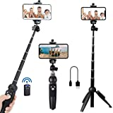 Bluehorn All in one Portable 40 Inch Aluminum Alloy Selfie Stick Phone Tripod with Wireless Remote Shutter for iPhone 11 pro
