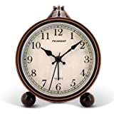 """Peakeep 4"""" Battery Operated Antique Retro Analog Alarm Clock, Small Silent Bedside Desk Gift Clock"""