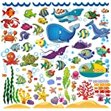 Wall Stickers with Under The Sea Design, Peel and Stick Deep Blue Sea Fish Vinyl Decals, Ocean Under Water Removable Wall Art