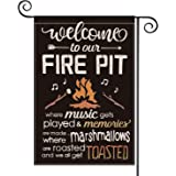 AVOIN Welcome To Our Fire Pit Garden Flag Vertical Double Sided, Marshmallows Music Camper Yard Outdoor Decoration 12.5 x 18