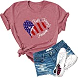Dauocie Womens Faith Family Freedom Letter Print Short Sleeve T Shirt Casual USA American Flag Graphic Tees Tops