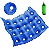 "MIAOKE Medical Air Inflatable Seat Cushion for Wheelchair Office Home, Ideal for Prolonged Sitting 17.7"" X 17.7""- Blue"