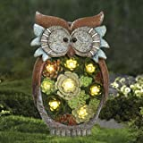 Garden Statue Owl Figurine - Resin Outdoor Statue with Solar Powered LED Lights for Patio Yard Decorations Lawn Ornaments, Fa