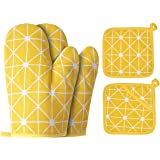 Win Change Oven Mitts and Potholders BBQ Gloves-Oven Mitts and Pot Holders with Recycled Cotton Infill Silicone Non-Slip Cook