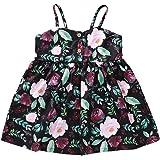 Toddler Baby Girls Summer Outfits Floral Sundress Sleeveless Sling Dress OneSize for Newborn Girls Button Skirt