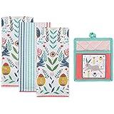DII Folk Kitchen Textiles, DT 18x28 PH 9x8, Easter Garden 4 Piece