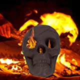 Rocinha Ceramic Fireproof Fire Pit Skull Log for Ventless & Vent Free, Propane, Gel, Ethanol, Electric, Outdoor Fireplace and