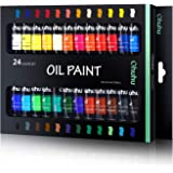 Ohuhu Oil Paint Set, 24 Oil-Based Colors, Artists Paints Oil Painting Set, 12ml x 24 Tubes Great Valentine's Day Back to Scho