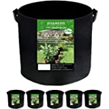 6個セット 5ガロン プランター 布鉢 栽培袋 フェルト 不織布ポット 植え袋 ガーデン 通気性 diy 園芸 植物育成 野菜栽培 大容量 JES&MEDIS (6, 5ガロン_25Hx30D)