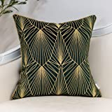 Yangest Teal Green and Gold Gradient Velvet Throw Pillow Cover Geometric Lines Cushion Case Modern Luxury Embroidery Pillowca