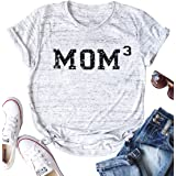 DUTUT Mom 3 T Shirt for Women Funny Mama Bear Short Sleeve Tee Shirt Cute Heart Mom Life Graphic Top Tees