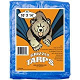 B-Air 5580 Grizzly Tarps 10 x 14 Feet Blue Multi Purpose Waterproof Poly Tarp Cover 5 Mil Thick 8 x 8 Weave