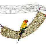 BLSMU Bird Seagrass Mat,Natural Grass Woven Net Hammock Hanging on Parrot Cage with 4 Hooks,Parakeet Climbing Rope Ladder Che