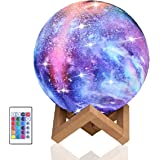 Night Light for Kids Moon Lamp 16 Colors LED 15cm 3D Print Star Moon Light with Stand, Touch & Remote Control & USB Rechargea