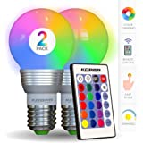 KOBRA LED Bulb Color Changing Light Bulb with Remote Control (2 Pack)16 Different Color Choices Smooth Flash or Strobe Mode-
