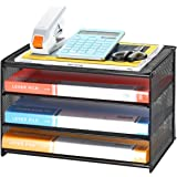 Samstar Paper Letter Tray, 3 Tier Desk File Organizer Paper Sorter Letter Shelf Rack, Mesh Made,Black