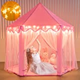 Moncoland Princess Castle Girls Play Tent Toy, Kids Large Fairy Playhouse Tent with Star Lights, Gift for Children Toddlers I