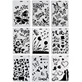 URlighting Drawing Painting Stencils Template(9 Pcs) - Various Styles Patterns with Butterfly, Flowers, Birds, Figures, Anima
