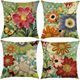 TongXi Square Decorative Throw Pillow Covers 18x18 inches Pack of 4, Cotton Linen, Sunflowers, 18x18 inches