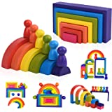 Wooden Rainbow Stacking Game Learning Toy Geometry Building Blocks for Toddlers Age 1 2 3 4 Years Old Creative Color Shape Ma