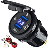 [Upgrade] Dual Quick Charge 3.0 Car Charger Socket with Touch Switch and LED Voltmeter, 12V/24V 36W USB Charger Waterproof Po