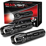 GearLight LED Tactical Flashlight S1000 [2 PACK] - High Lumen, Zoomable, 5 Modes, Water Resistant, Handheld Light - Best Camp